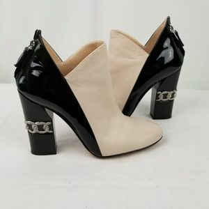 Casadei Leather Block Heel Ankle Booties size 37.5